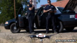 Rescue drone in front of cops