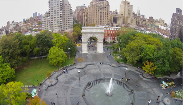 View into Washington Square Park with the arch