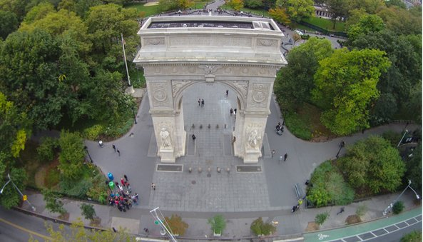 view of Washington Square Park from the arch