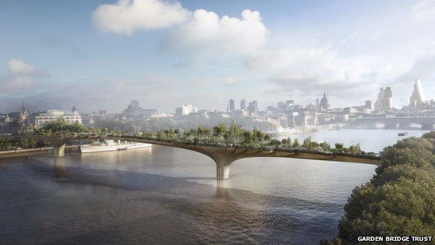 Design image of the garden bridge over River Thames