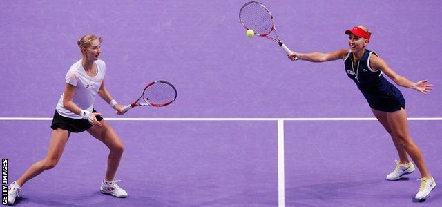 Ekaterina Makarova and Elena Vesnina of Russia in the doubles final at the WTA Championships in Istanbul