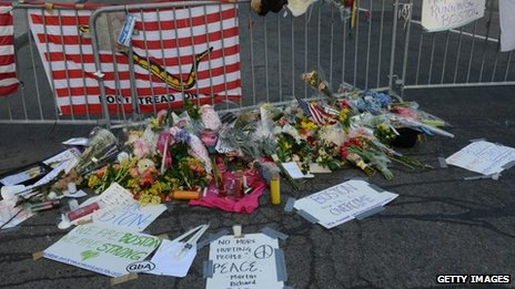 Tributes to victims of the marathon bombings in Boston, Massachusetts, on 17 April 2013