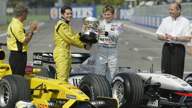 Eddie Jorda, Giancarlo Fisichella, Kimi Raikkonen, Ron Dennis