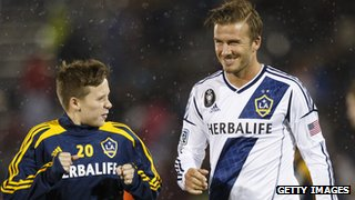 Davuid Beckham with son Brooklyn