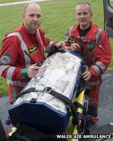 Wales Air Ambulance paramedics Ian Thomas and Jason Williams with the Babypod