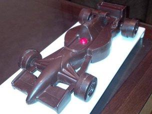 Formula 1 car made of chocolate