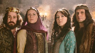Jim Howick, Martha Howe-Douglas, Alice Lowe and Laurence Rickard as medieval royals