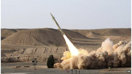 This photo released by the Iranian Defence Ministry claims to show the launch of the Fateh-110 short-range surface-to-surface missile by Iranian armed forces, at an undisclosed location (file photo)