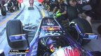 Sebastian Vettel collides with his Red Bull mechanics  during first practice for the Abu Dhabi Grand Prix