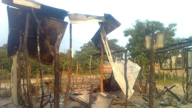 The remains of a church burnt down by a mob in Batticaloa (courtesy NCEASL)
