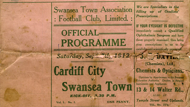 Cardiff City v Swansea Town derby programme