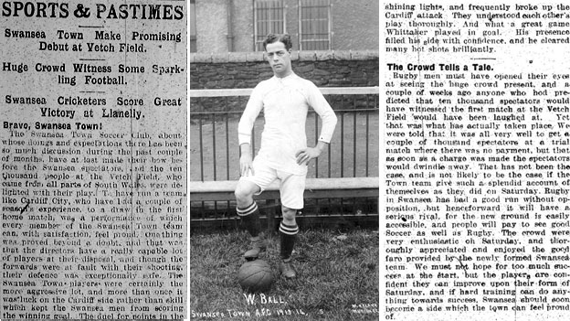 "Left and right: ""Bravo Swansea Town!"" – Daily Post report of the game; Centre: Billy Ball, scorer of the Swansea Town goal"