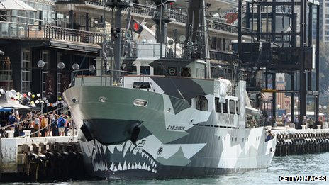 The Sea Shepherd ship Sam Simon moored in Sydney