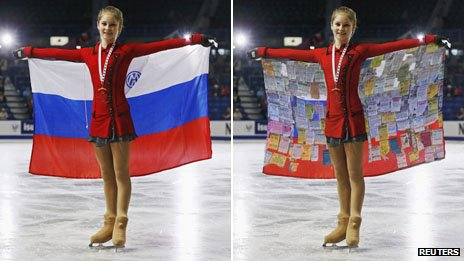 "Yulia Lipnitskaya with the Russian flag - and a blogger's take on the situation, with ""sponsors' messages"" superimposed over the flag"