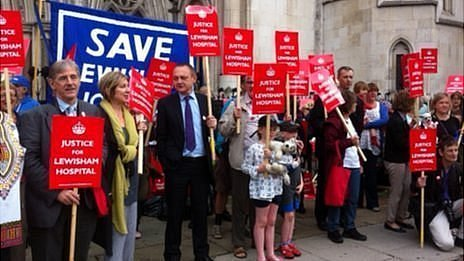 Demonstrators at the Royal Courts of Justice