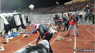 Crowd trouble at a football match in Russia