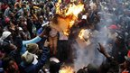 Protesters burn cardboard in Cape Town, South Africa - Wednesday 30 October 2013