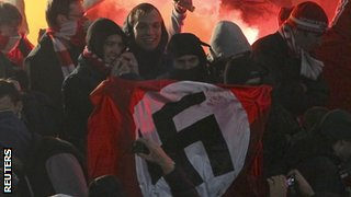Spartak Moscow fans with swastika