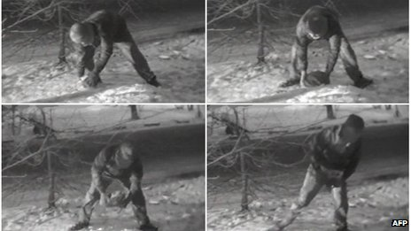 Combo shows pictures broadcast by the Russian state-run Rossiya television of a young man, allegedly a British spy, in a park outside Moscow taking a rock being used as a high-tech version of the spy's traditional letter-box or dead drop, shown on 23 January 2006