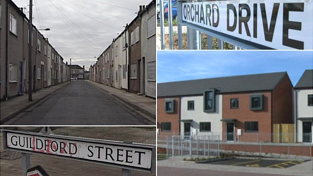 Guildford Street in 2009 and Orchard Drive in 2013