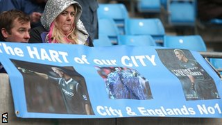 Manchester City fans show their support for Joe Hart
