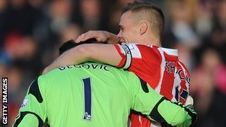 Asmir Begovic is congratulated
