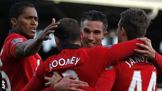 Manchester United celebrate their first goal