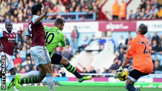 Andreas Weimann of Aston Villa has his shot saved by Jussi Jaaskelainen