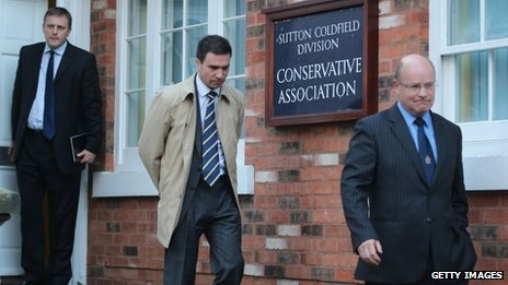 Chris Jones, Stuart Hinton and Ken MacKaill (L-R) leaving the constituency office of Andrew Mitchell