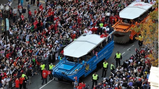 Duck boats in the Boston Red Sox Parade