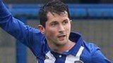 Coleraine's Gareth Tommons celebrates his goal against Glenavon