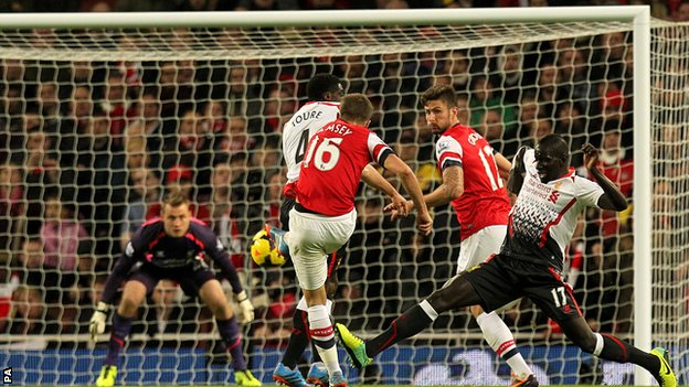 Arsenal midfielder Aaron Ramsey scores against Liverpool