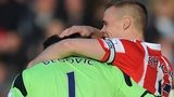 Stoke goalkeeper Asmir Begovic celebrates with defender Ryan Shawcross