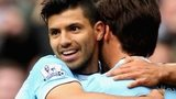 Sergio Aguero (left) congratulates David Silva after scoring Manchester City's second goal