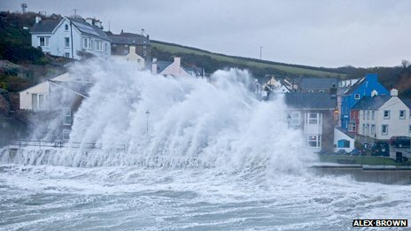 A large wave hits Little Haven, Pembrokeshire