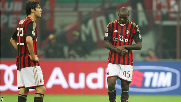 AC Milan's Kaka and Mario Balotelli
