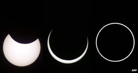 Composite of three pictures showing an annular eclipse in Arguzelo, Portugal, 3 October 2005