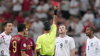 Wayne Rooney receives a red card for standing on Ricardo Carvalho in the 2006 World Cup quarter-final against Portugal, which England lost on penalties