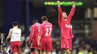 Jamie Carragher celebrates