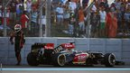 Kimi Raikkonen retires from the race on lap one of the Abu Dhabi Formula One Grand Prix