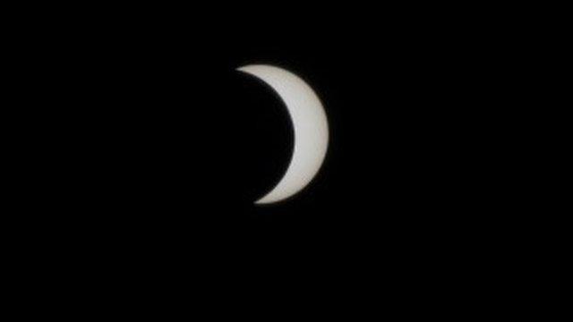 A partial solar eclipse in Lagos, Nigeria,