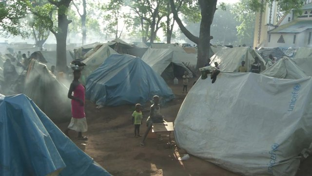 Part of the camp where thousands of Christians have sought refuge