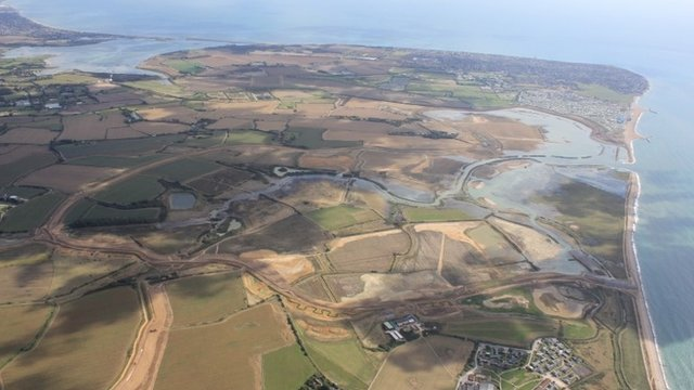 "UK""s biggest sea defence scheme in Medmerry, West Sussex"