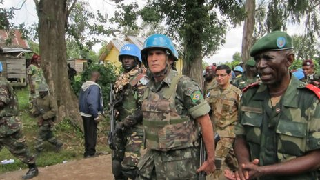 Monusco force commander, Alberto Dos Santos Cruz, enters the town of Bunagana, under rebel control for over a year.