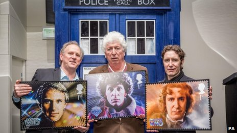 (from left) Peter Davison, Tom Baker and Paul McGann launching a set of Doctor Who stamps earlier this year