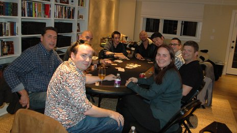 Vanessa Fox playing poker with male friends