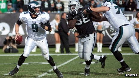 The Philadelphia Eagles playing the Oakland Raiders