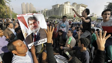Supporters of Egypt's ousted President Mohammed Morsi hold a a protest against Morsi's trial in front of the supreme constitutional court in Cairo, on Monday 4 November 2013