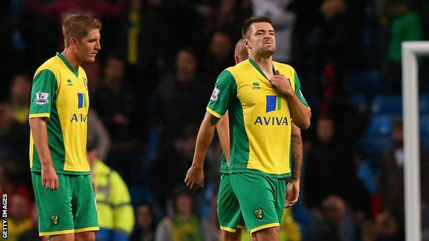 Michael turner and Russell Martin react to defeat by Man City