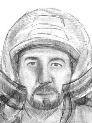 a sketch of a man wanted in connection with murders of four people in the Alps last year